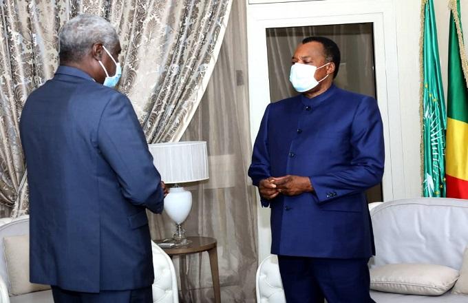 UA - Tchad - CEEAC : Denis Sassou N'Guesso s'est entretenu avec Moussa Faki Mahamat