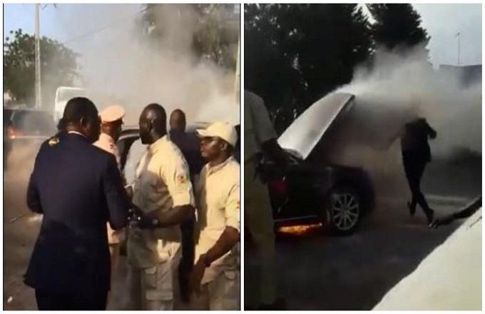 La voiture sophistiquée de Macky Sall et IBK prend feu