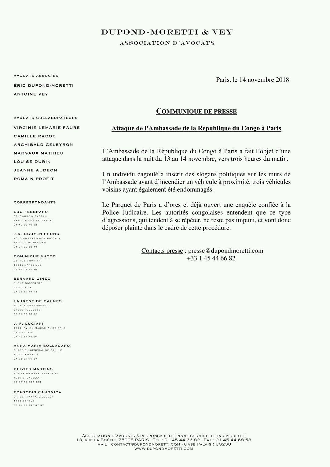 Grave incendie à l'ambassade du Congo en France